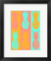 Framed Vibrant Striped Pineapples