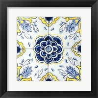 Framed Yellow and Blue Spanish Tile I