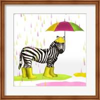 Framed Raindrops Safari Zebra
