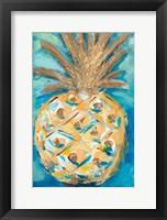 Framed Blue Gold Pineapple