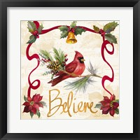 Framed Christmas Poinsettia Ribbon I