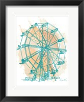 Framed Teal Ferris Wheel I