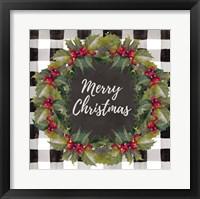 Framed Buffalo Plaid Christmas Wreath