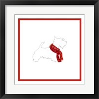 Framed Scotty Silhouette with Red Scarf