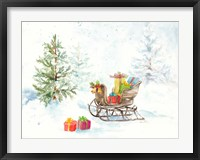 Framed Presents in Sleigh on Snowy Day