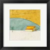 Framed Teal and Yellow Barn