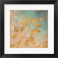 Framed Gold Leaves on Blues I