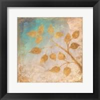 Framed Gold Leaves on Blues II