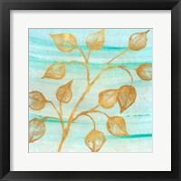 Framed Gold Moment of Nature on Teal I