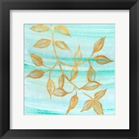 Framed Gold Moment of Nature on Teal II