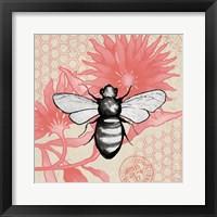 Framed Bee on Pink Flower Square