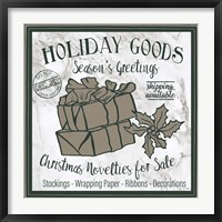 Framed Taupe Christmas Sign III