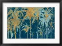 Framed Teal and Gold Palms