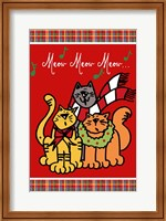 Framed Christmas Cat Jingles on Red Plaid