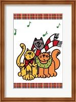 Framed Christmas Cat Jingles on Plaid