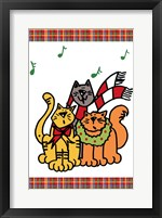 Framed Christmas Cat Jingles on Plaid