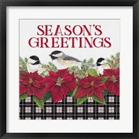 Framed Chickadee Christmas Red IV Seasons Greetings