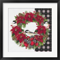 Framed Chickadee Christmas Red V Wreath