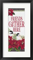 Framed Chickadee Christmas Red - Friends Gather vertical