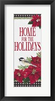 Framed Chickadee Christmas Red - Home for the Holidays vertical