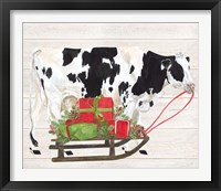 Framed Christmas on the Farm I Cow with Sled