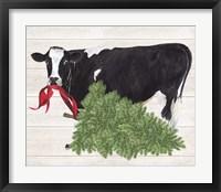 Framed Christmas on the Farm II Cow with Tree