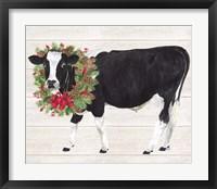 Framed Christmas on the Farm III Cow with Wreath