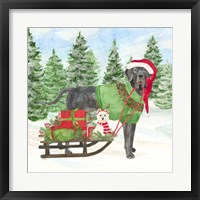 Framed Dog Days of Christmas II Sled with Gifts