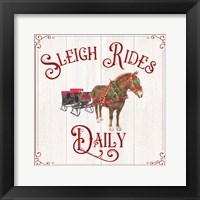 Framed Vintage Christmas Signs V-Sleigh Rides