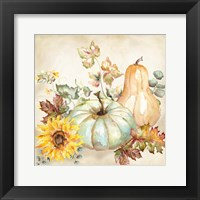 Framed Watercolor Harvest Pumpkin II