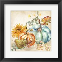 Framed Watercolor Harvest Pumpkin IV