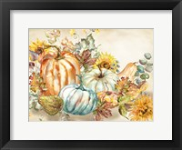 Framed Watercolor Harvest Pumpkin landscape