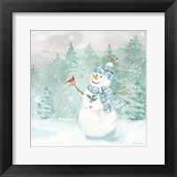 Framed Let it Snow Blue Snowman II