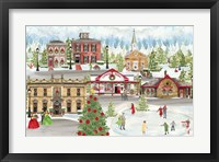 Framed Christmas Village landscape