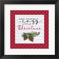 Framed Cozy Christmas Dots I Pine cones