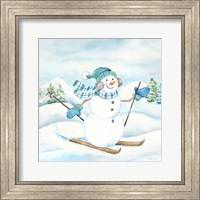Framed Let it Snow Blue Snowman III