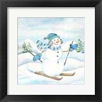Framed Let it Snow Blue Snowman III