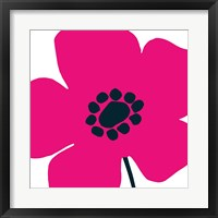 Framed Pop Art Floral IV Hot Pink