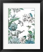 Framed Elephant and Flowers