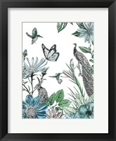 Framed Peacock and Flowers