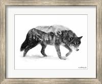 Framed Black & White Wolf