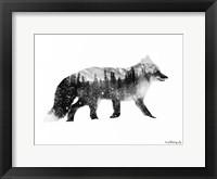 Framed Black & White Fox