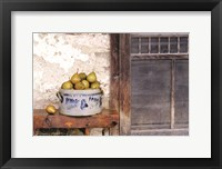 Framed Bushel and a Peck Crock of Pears