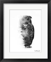 Framed Black & White Owl
