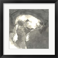 Framed Sepia Modern Dog I