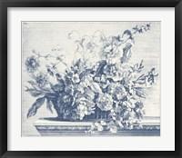 Framed Navy Basket of Flowers II