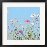 Framed Wild Flowers on Cerulean I