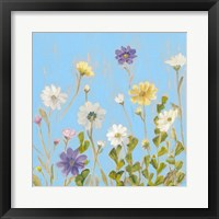 Framed Wild Flowers on Cerulean III