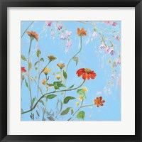 Framed Wild Flowers on Cerulean IV
