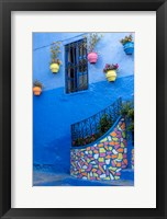 Framed Morocco, Chefchaouen Colorful House Exterior
